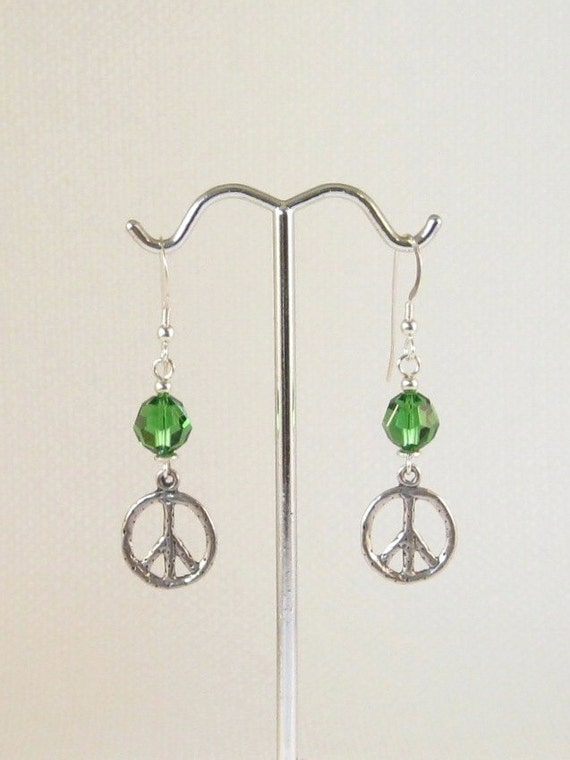 Fern Green Swarovski Crystals Peace Charm Earrings:  peace sign earrings, botanical jewelry, gifts for gardeners, St. Patrick's Day jewelry