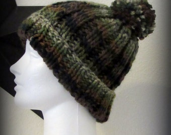 knit hat - hand knit hat - hat - brown knit hat - brown hand knit hat - green knit hat - green hand knit hat - green knit pom pom hat - knit