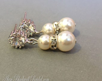 Swarovski Pearl Earrings with a sparkling CZ Rhinestone post available in many colors Silver or Gold Cream Ivory Blush White Bridesmaid Gift