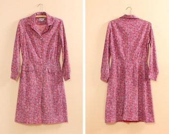 60s Floral Dress S/M • Cotton Shirtdress • Floral Cotton Dress • Long Sleeve Dress • Pink Floral Dress • Peter Pan Collar Dress | D428