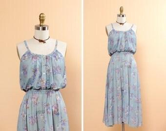 Seafoam Green Dress XS/S • Floral Summer Dress • Floral Sundress • Pastel Floral Dress • Boho Floral Dress • Spaghetti Strap Dress | D791