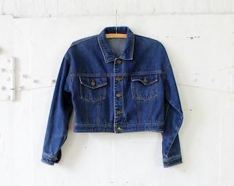 Cropped Jean Jacket S • 90s Denim Jacket • Cropped Denim Jacket • Fall Jacket • Womens Cropped Jacket • Vintage Denim Jacket   | O298