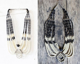 80s Black and White Bib Necklace • Multi Strand Beaded Necklace • Ivory and Black Bead Statement Necklace  | N163