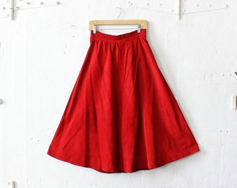 80s Red Suede Skirt M/L • Elastic Waist Skirt • Midi Skirt • Fit and Flare Skirt • Knee Length Boho Skirt | SK443