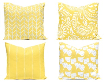Throw Pillow Covers - Yellow Pillow Covers - Yellow and White - Bright Lemon Yellow Cushion Covers - Herringbone, Paisley, Gingko -
