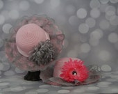 Tea Party Hats; Set of Two Pink Easter Bonnets with Ribbon; Girls Sun Hats; Pink Easter Hat; Sunday Dress Hat; Derby Hat; 16290
