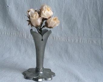 Vintage Hagness pewter vase  pewter candle holder   Mid century modern pewter
