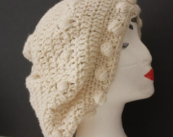 "Knitted ""Cream/Off White"" Beanie,  Slouchy Head Accessory,  Boho-chic  ***FREE SHIPPING (USA address only) """""""