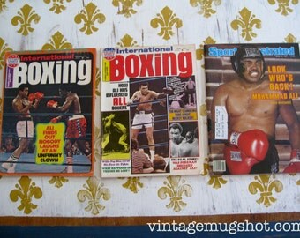 2 International Boxing Magazines And 1 Sports Illustrated With Muhammad Ali Covers Seventies  Lot 3