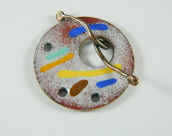 Enameled Focal Toggle Clasp with Copper Wire Toggle Bar-1