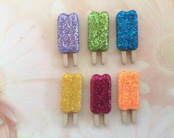 Glitter Popsicle Magnets / Set of Six Magnets / Fun Magnets / Popsicle Magnets / Food Magnets / Glitter Magnets