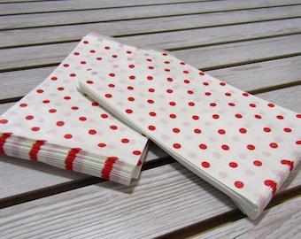 100 pk Red Polka Dot Pattern Paper Sacks (6 x 9 in)