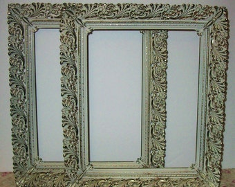 2 Vintage Gold & White Metal Filigree Picture Frames, Wedding Decor, Nursery Decor,Shabby Chic