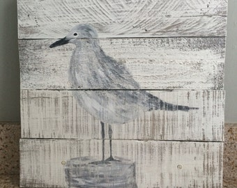 Seagull painting on repurposed pallet wood