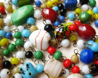 "Vintage 20s Czech Glass Bead Chain Art Deco Flapper 48"" Long Necklace"