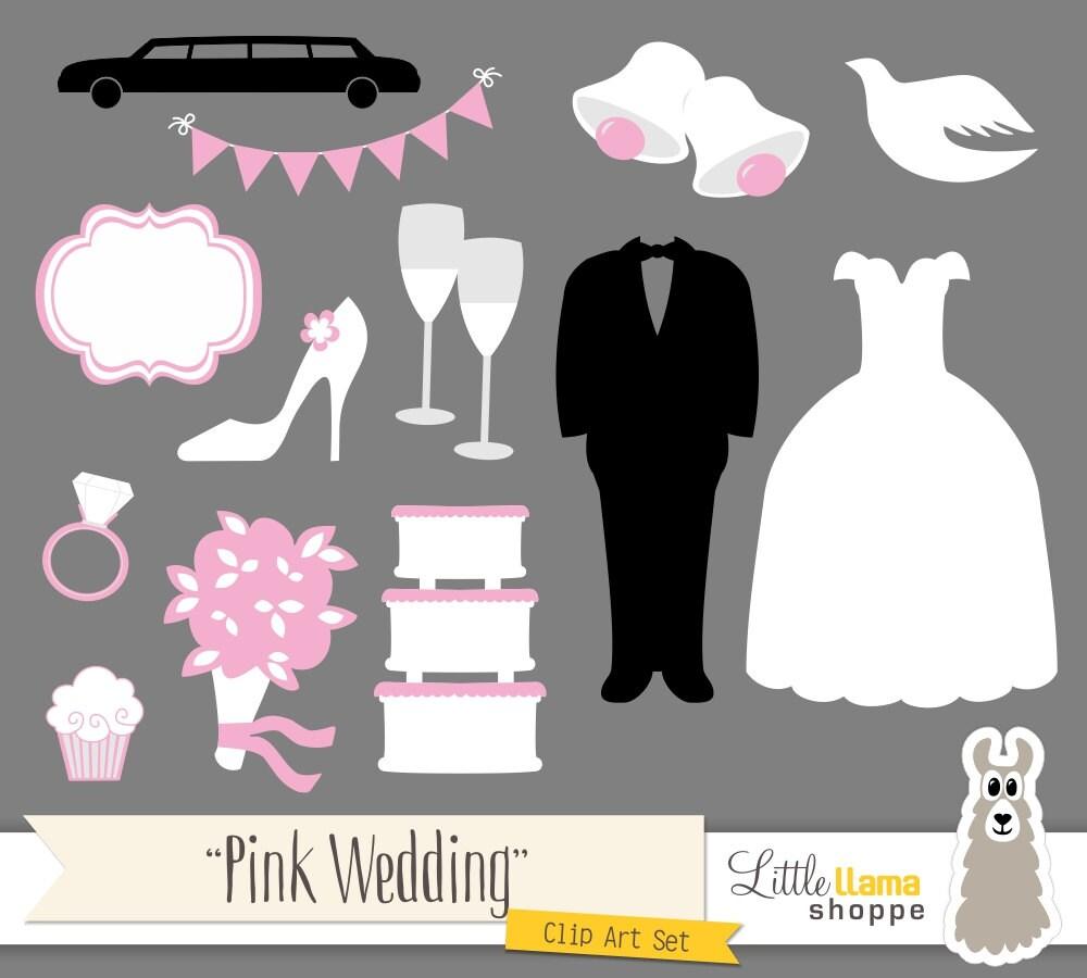 Pink Wedding Borders Clip Art: Pink Wedding Clipart, Wedding Clip Art, Bridal Shower