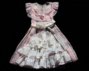 1930s Girl's Dress - Size 10 to 12 - Sheer Pink Cotton Organdy - White Embroidered Frills & Sash - Authentic 30s Garden Party Frock - 34548