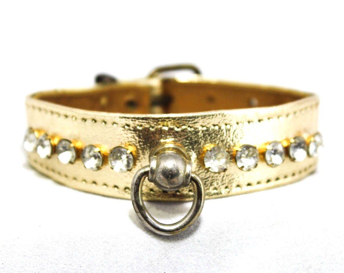 1950s Dog Collar Metallic Gold Amp Rhinestones 50s Toy