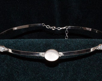 Large White Center Stone and Flanking Ones on Silver Flat Band Circlet Headpiece