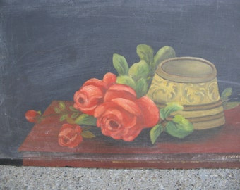 vintage signed still life oil painting floral painting 1957 oil on board 19 3/8 by 11 3/4 inches rustic primitive