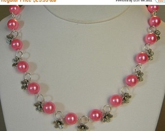 On Sale Pink Flowers Necklace