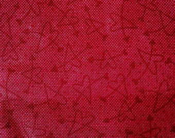Rustic Red Cotton Fabric Small Print Hearts with Arrows 2 3/4 Yards X0556