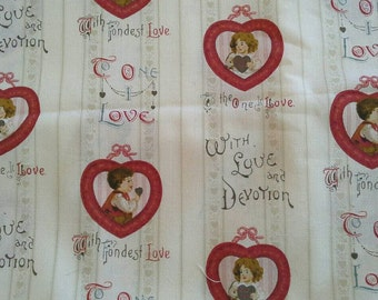 Heart and Love Novelty Print 3 Yards Cotton Fabric X0599