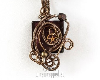 OOAK purple steampunk wire wrapped pendant