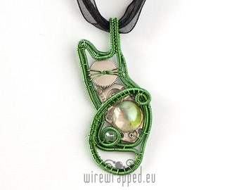 OOAK steampunk kitty wire wrapped pendant