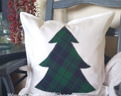 Tartan Plaid Tree applique holiday pillow cover