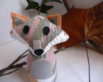 Sammy the Fox - 6 Inch Plush Fox Made From Repurposed and Salvaged Fabrics