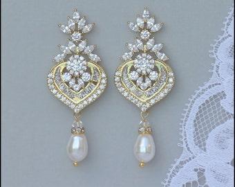 Gold Crystal Earrings, Gold Bridal Earrings, Chandelier Earrings, Pearl Drop Earrings, Boucles d'oreille de Cristal, TAYLOR G