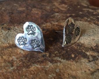 Tripawd 3-Paw Metal Stamped Post Earrings in Sterling Silver