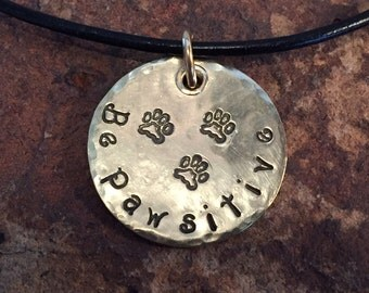 Tripawd Dog or Cat Three Paw Pendant Charm in Brass