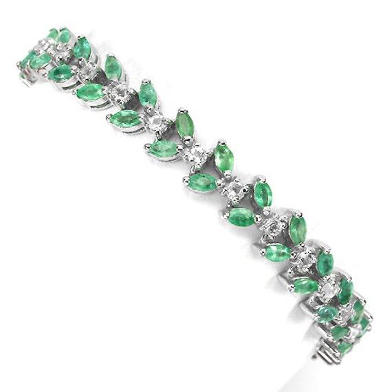 92 TCW Natural Marquise Emerald gemstones, 14kt white gold Bracelet Size 7 1/2
