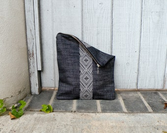 Large Pouch, Foldover Clutch, Zipper Bag, Handbag, Purse, Jean Bag, Vegan Purse, Black and White Geometric