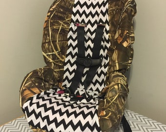 Camo & chevron toddler car seat cover you choose colors and Camo monogram is free