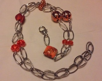 Gorgeous Orange Bead and Chain Lanyard