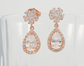 Rose Gold Tone Crystal Bridal Earrings, Cubic Zirconia, Stud Drop Earrings, Yellow Gold Tone, Adeline - Will Ship in 1-3 Business Days