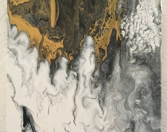 Original abstract art, canvas, black white and gold, acrylic painting