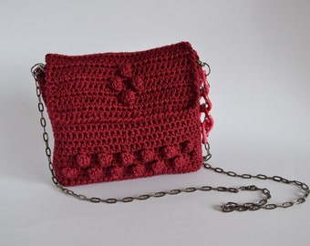 Crochet cotton bag burgundy crochet purse shoulder cotton bag burgundy handmade purse