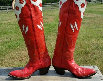 Red & White Butterfly Inlay Larry Mahan Vintage Cowboy Boots 6.0B