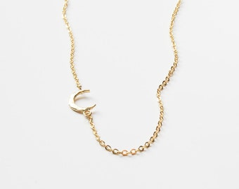 Tiny Moon Necklace | Gold Moon Necklace | Crescent Moon Necklace | Layering Necklace | Delicate Necklace