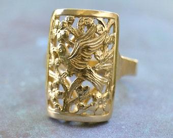 Rare MING'S Honolulu LG size Bird and Plum Flower RING 14K Gold Sze 10