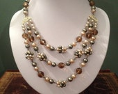 Vintage Faux Pearl and Glass Bead Neckace and EarringSet.