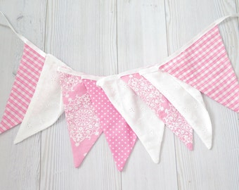 Pink baby shower , pink birthday , fabric banner , pink banner , lace banner , wedding banner , white banner