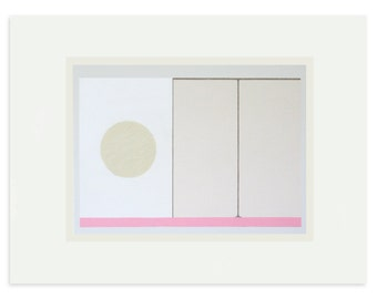 Contemporary art, minimal art, abstract screenprint, abstract geometry in pinks and neutrals by Emma Lawrenson.