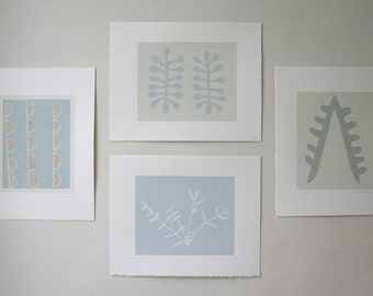 Small print set - soft blues, neutrals, ORIGINAL abstract screenprints based on organic forms and nature.