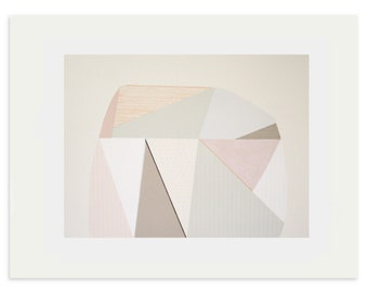 Large original geometric art, handmade screenprint with pencil in soft muted pastel colours by Emma Lawrenson