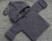 Baby hoodie jumper/sweater hand knitted in pale lilac all cotton yarn, suit boy or girl age 0-6 m, chest approx 16-18 in